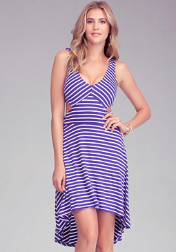 bebe Stripe High Low Cutout Dress