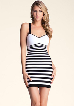 bebe Padded Stripe Bodycon Dress