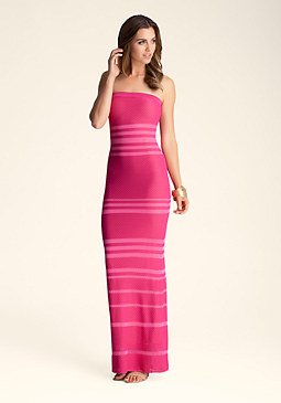 bebe Sheer & Opaque Strapless Maxi Dress