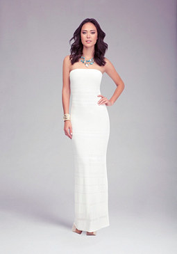 Sheer Strapless Maxi Dress at bebe