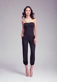 bebe Pleated Bodice Jumpsuit