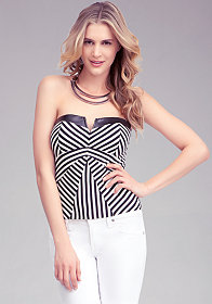 bebe Stripe Panel Bustier