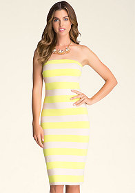 bebe Midi Length Strapless Dress