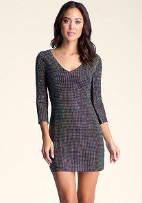 V Neck Studded Dress at bebe