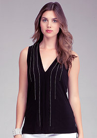 bebe Sleeveless Metal Beaded Tunic