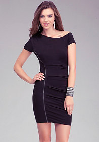 bebe Asymmetric Pintuck Zipper Dress