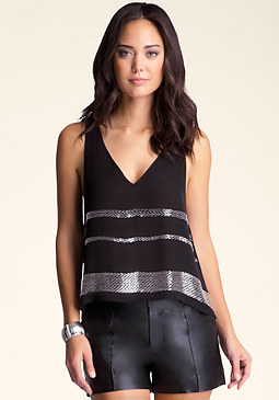 bebe Embellished Mitered Top