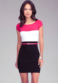 bebe Colorblock Belted Dress