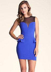 bebe Mesh Yoke Peplum Dress