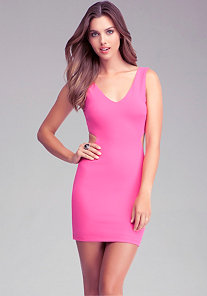 Cutout V Neck Bodycon Dress at bebe