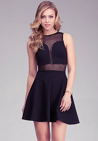 Geometric Mesh Fit & Flare Dress at bebe