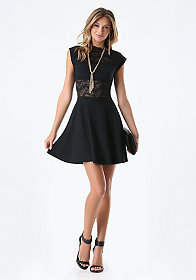 Lace Panel Midriff Dress at bebe