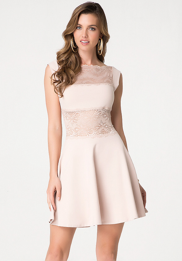 Lace Panel Midriff Dress - Dresses - Cocktail & Evening | bebe