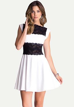 Lace Panel Midriff Dress at bebe