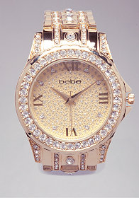 bebe Crystal Encrusted Link Watch
