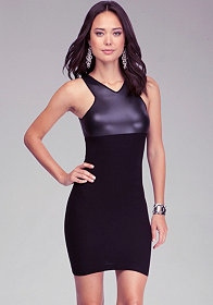 Leatherette Bodycon Dress at bebe