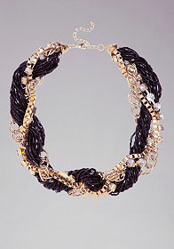 bebe Seed Bead & Chain Braided Necklace