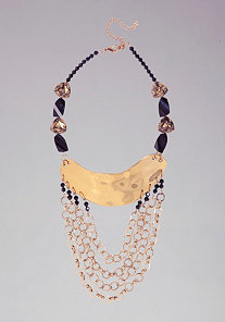 Stone & Multi Chain Hammered Necklace at bebe