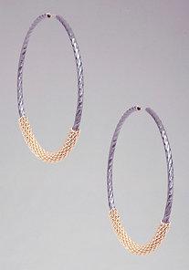Wrapped Chain Hoop Earrings at bebe
