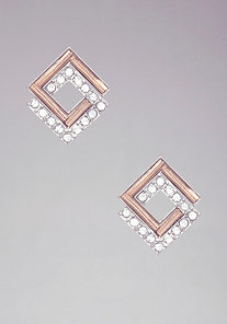 Square Crystal Stud Earrings at bebe