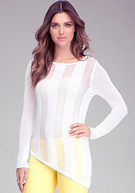 bebe Asymmetric Shadow Stripe Top