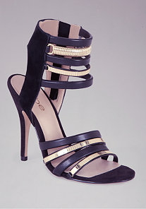 Janine Metal & Leather Strap Sandal at bebe