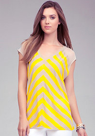 Cutout Stripe & Mesh Top at bebe