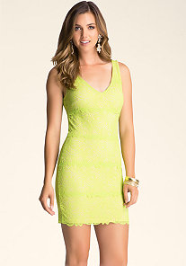 Betsy Border V Neck Lace Dress at bebe