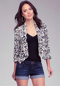 Leopard Print Shawl Collar Blazer at bebe