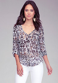 Print Button Up Blouse at bebe