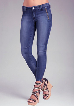 bebe Clean Zipper Moto Jeans