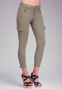 Zipper Cargo Skinny Jeans at bebe