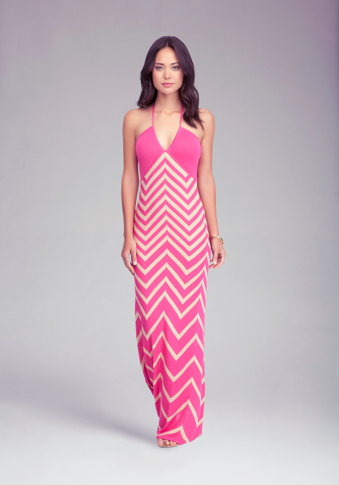Chevron Halter Maxi Dress