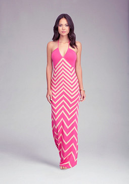 Chevron Halter Maxi Dress at bebe
