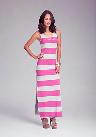 bebe Logo Stripe Slit Maxi Dress