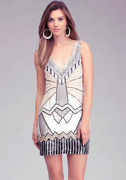 Art Deco Shift Dress at bebe