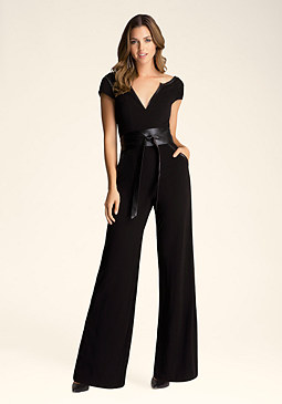 Petite Wrap Belt Jumpsuit at bebe