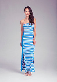 Logo Stripe Tube Maxi Dress at bebe