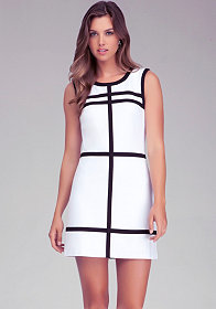 bebe Contrast Press Fold Detail Dress