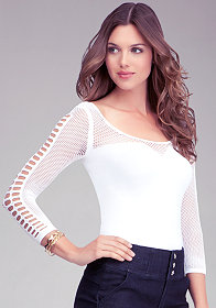 bebe Mesh Sleeve Top