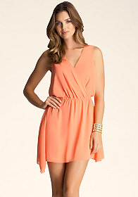bebe Surplice Chiffon Dress