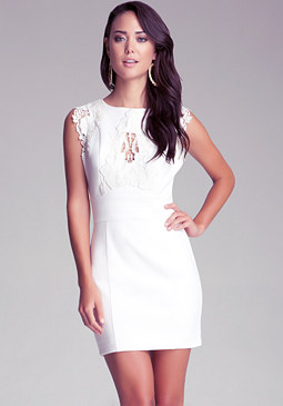 bebe Crochet Lace Detail Dress