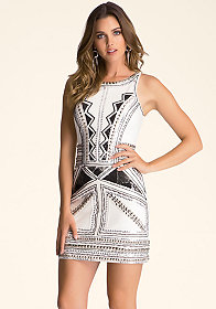 bebe Racerback Beaded Dress