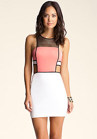 bebe Sporty Mesh Side Cutout Dress