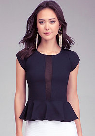 Gina Mesh Stripe Peplum Top at bebe