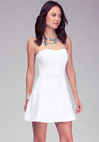 bebe Heart Neck Strapless Dress