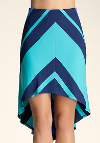Stripe Mitered High-Low Skirt at bebe