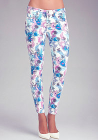 bebe Feather Floral Icon Skinny Jeans