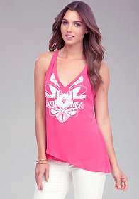 bebe Beaded Cut Away Top