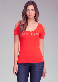 bebe Logo Cold Shoulder Button Tee